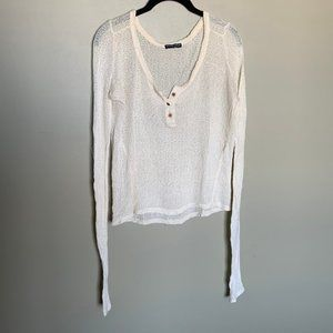 Brandy Melville cream open knit long sleeve top